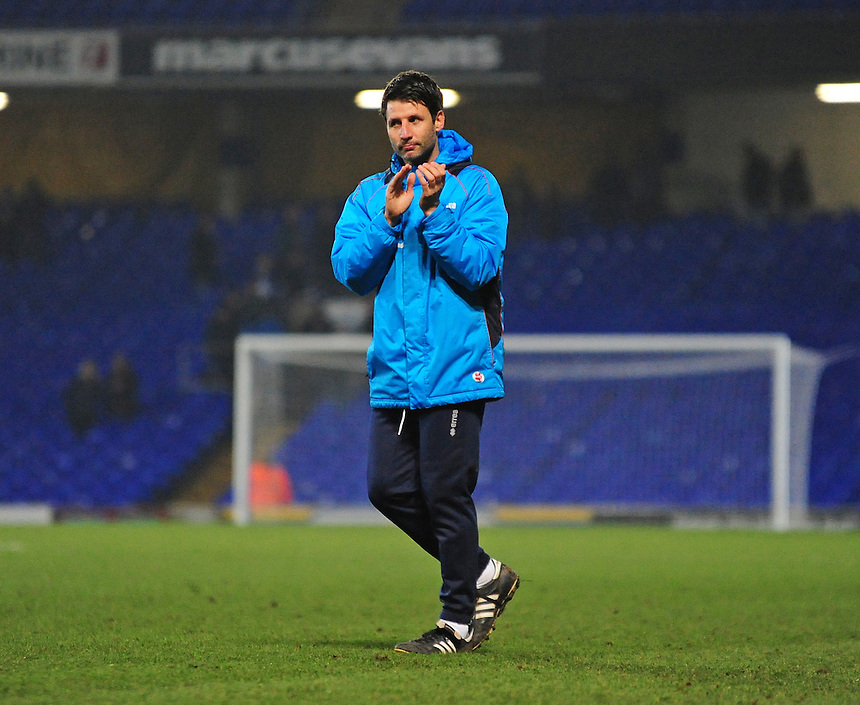 Lincoln City manager Danny Cowley  applauds fans at the end of the game<br /> <br /> Photographer Andrew Vaughan/CameraSport<br /> <br /> Emirates FA Cup Third Round - Ipswich Town v Lincoln City - Saturday 7th January 2017 - Portman Road - Ipswich<br />  <br /> World Copyright &copy; 2017 CameraSport. All rights reserved. 43 Linden Ave. Countesthorpe. Leicester. England. LE8 5PG - Tel: +44 (0) 116 277 4147 - admin@camerasport.com - www.camerasport.com
