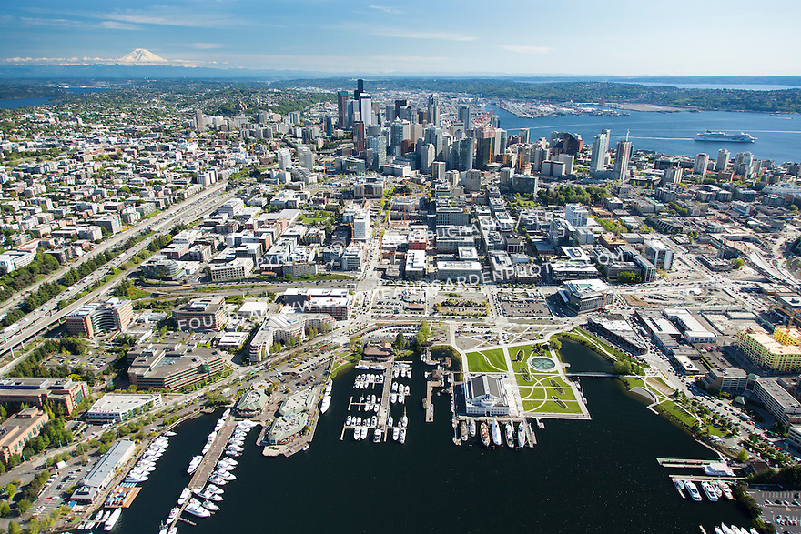 Aerial photo of Seattle's South Lake Union neighborhood, the downtown skyline, and the waterfront