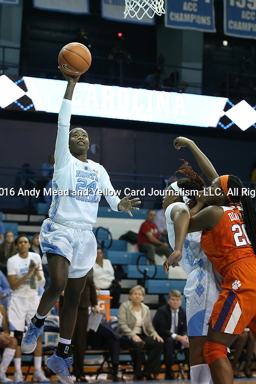03 January 2016: North Carolina's Destinee Walker (24). The University of North Carolina Tar Heels hosted the Clemson University Tigers at Carmichael Arena in Chapel Hill, North Carolina in a 2015-16 NCAA Division I Women's Basketball game. UNC won the game 72-56.