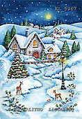 Interlitho, CHRISTMAS LANDSCAPE, paintings+++++,lantern,holly,deers,KL5967,#xl# Landschaften, Weihnachten, paisajes, Navidad, illustrations, pinturas