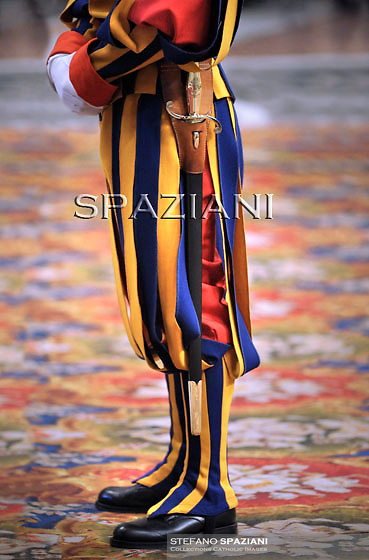Pontifical Swiss Guard.The Corps of the Pontifical Swiss Guard or Swiss Guard,Guardia Svizzera Pontificia,responsible for the safety of the Pope, including the security of the Apostolic Palace. It serves as the de facto military of Vatican City..Pope Benedict XVI celebrates the holy mass and rite of Episcopal ordination in St. Peter's basilica at the Vatican on February 5, 2011.