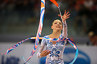 Melitina Staniouta of Belarus (junior) recatches during ribbon event final at 2008 European Championships at Torino, Italy on June 7, 2008.  Photo by Tom Theobald.