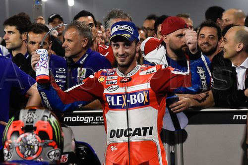 March 26th 2017, Doha, Qatar; MotoGP Grand Prix Qatar; Andrea Dovizioso (Ducati) celebrates his 2nd placed finish