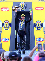 Mar 19, 2017; Gainesville , FL, USA; NHRA pro stock motorcycle rider Eddie Krawiec celebrates after winning the Gatornationals at Gainesville Raceway. Mandatory Credit: Mark J. Rebilas-USA TODAY Sports
