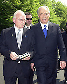 Ambassador David Ivry of Israel, left, and Foreign Minister Shimon Peres of Israel, right, depart the White House after meeting reporters following their meeting with United States President George W. Bush on May 3, 2001.<br /> Credit: Ron Sachs / CNP