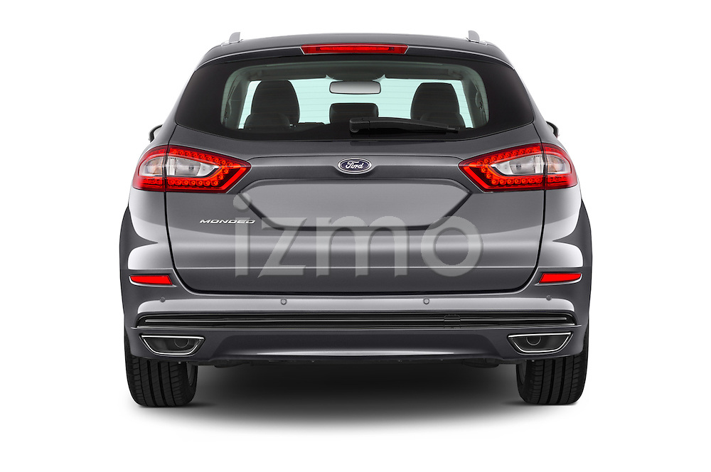 Straight rear view of a 2015 Ford Mondeo Titanium 5 Door Wagon 2WD Rear View  stock images