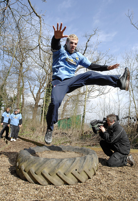 Photo: Richard Lane..Photoshoot of London Wasps taking part on a Magners Assault Course at Harrow School. 20/03/2007. .James Haskell.
