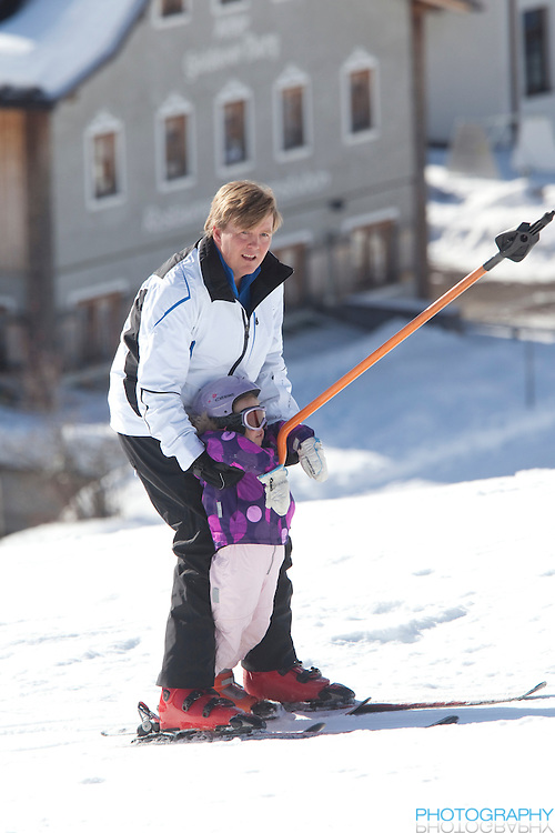 Crown Prince Willem Alexander of Holland with Daughter, Princess Ariane attend a Photocall with Members of The Dutch Royal Family during their Winter Ski Holiday in Lech Austria