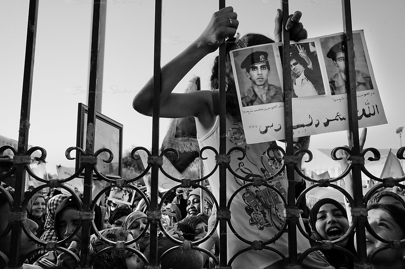 Syrte, Libya, June 26, 2011..Picture taken during a government organized trip. About 200 women and children gather at the gate of the hotel housing foreign correspondent in what appeared to be an orchestrated display of allegiance to the Ghaddafi regime.