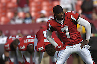 3 December 2006:  Falcons QB Michael Vick (7) stretches during warm-ups.  The Atlanta Falcons defeated the Washington Redskins 24-14 at FedEx Field in Landover, MD.
