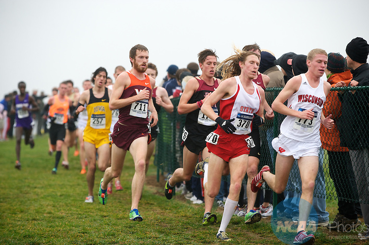 21 NOV 2011: Ryan Collins (773) of the University of Wisconsin and Andrew Colley (370) of North Caronlina State University lead a small group during the Division I Men's Cross Country Championship held at the Wabash Valley Family Sports Center in Terre Haute, IN. Collins placed 23rd and Colley placed 15th. University of Wisconsin won the team national title. Brett Wilhelm/NCAA Photos.