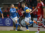 St Johnstone v Aberdeen...06.02.16   SPFL   McDiarmid Park, Perth<br /> David Wotherspoon celebrates his goal with Steven MacLean<br /> Picture by Graeme Hart.<br /> Copyright Perthshire Picture Agency<br /> Tel: 01738 623350  Mobile: 07990 594431