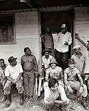 PANAMA, Cana, Cana Field Station workers in front of the dining lodge in the Darien Jungle, Central America (B&W)