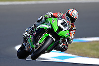 PHILLIP ISLAND, 26 FEBRUARY - Mark Aitchison (AUS) riding the Kawasaki ZX-10R (8) of the Team Pedercini during Superpole qualifying for round one of the 2011 FIM Superbike World Championship at Phillip Island, Australia. (Photo Sydney Low / syd-low.com)