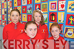Pupils at Mercy National School in Killarney displaying the patchwork quilt created by pupils in Kerry to mark the Eurcharistic Congress. .Front L-R Erica O'Shea and Ciara Prendergast,.Back L-R Ciara O'Sullivan and Eabha O'Reilly.