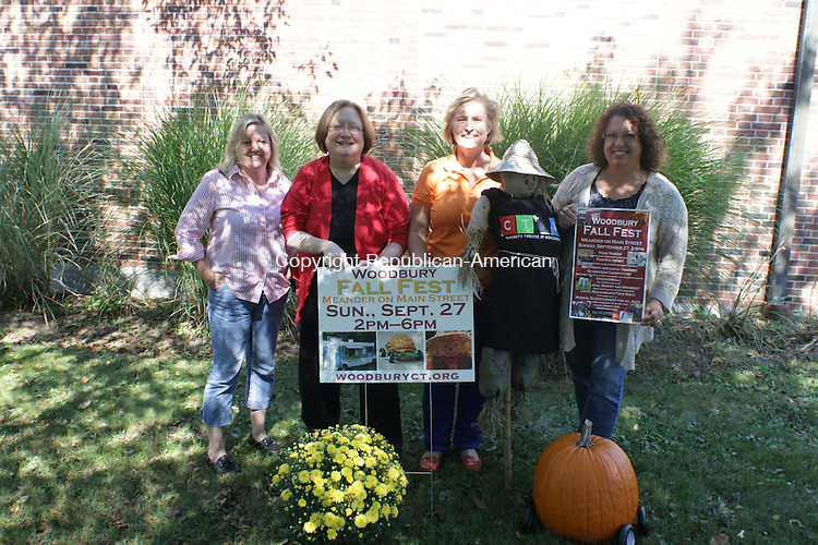 WOODBURY, CT: 21 Sept. 2015: 09212015CB03: WOODBURY --- What's On in Woodbury leaders are the organizers behind this Sunday's Fall Festival and include (from left) Marla Martin, Woodbury Public Library's teen librarian; Pat Munn, Woodbury Public Library director; Jenifer Miller, Parks and Recreation director; and Loryn Ray, director of senior services. Caleb Bedillion Republican-American