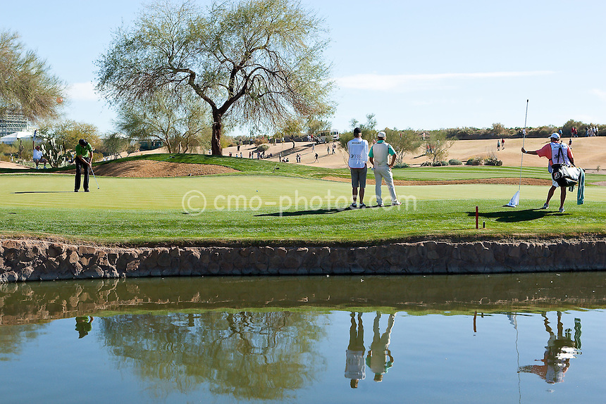 Feb 1, 2009; Scottsdale, AZ, USA; James Nitties (AUS) hits a putt on the 12th hole during the final round of the FBR Open at the TPC Scottsdale.  Nitties finished the tournament tied for fourth after leading on the back-nine of the final round.  Mandatory Credit: Chris Morrison-US PRESSWIRE