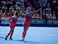Nertherlands' Frederique Matla and Eva de Goede celebrates the 6th goal scored by Caia van Maasakker <br /> Photographer Hannah Fountain/CameraSport<br /> <br /> Vitality Hockey Women's World Cup - Netherlands v Ireland - Sunday 5th August 2018 - Lee Valley Hockey and Tennis Centre - Stratford<br /> <br /> World Copyright &copy; 2018 CameraSport. All rights reserved. 43 Linden Ave. Countesthorpe. Leicester. England. LE8 5PG - Tel: +44 (0) 116 277 4147 - admin@camerasport.com - www.camerasport.com