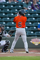 Jason Martin (6) of the Buies Creek Astros at bat against the Winston-Salem Dash at BB&T Ballpark on April 13, 2017 in Winston-Salem, North Carolina.  The Dash defeated the Astros 7-1.  (Brian Westerholt/Four Seam Images)
