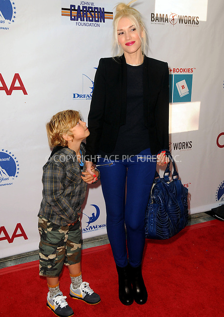 WWW.ACEPIXS.COM . . . . .  ....April 15 2012, LA....Gwen Stefani and Kingston Rossdale arriving at the 3rd Annual Milk And Bookies Story Time Celebration at the Skirball Cultural Center on April 15, 2012 in Los Angeles, California.....Please byline: PETER WEST - ACE PICTURES.... *** ***..Ace Pictures, Inc:  ..Philip Vaughan (212) 243-8787 or (646) 769 0430..e-mail: info@acepixs.com..web: http://www.acepixs.com