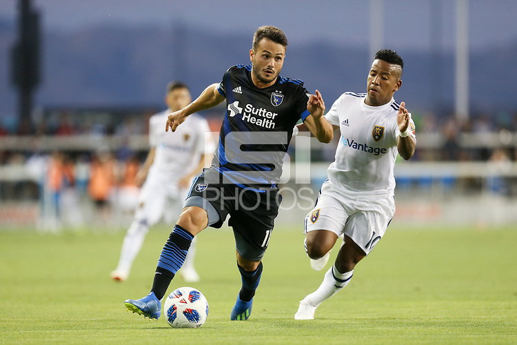 San Jose, CA - Saturday July 28, 2018: Vako, Joao Plata during a Major League Soccer (MLS) match between the San Jose Earthquakes and Real Salt Lake at Avaya Stadium.