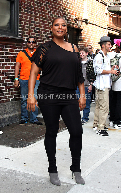 WWW.ACEPIXS.COM . . . . .  ....July 8 2009, New York City....Actress and singer Queen Latifah made an appearance at the 'Late Show With David Letterman' at the Ed Sullivan Theatre on July 8, 2009 in New York City.....Please byline: AJ Sokalner - ACEPIXS.COM..... *** ***..Ace Pictures, Inc:  ..tel: (212) 243 8787..e-mail: info@acepixs.com..web: http://www.acepixs.com