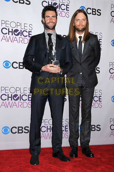 Adam Levine, James Valentine of Maroon 5.People's Choice Awards 2013 - Press Room held at Nokia Theatre L.A. Live. .January 9th, 2013.full length black grey gray blue suit award trophy winner beard facial hair .CAP/ADM/BP.©Byron Purvis/AdMedia/Capital Pictures.