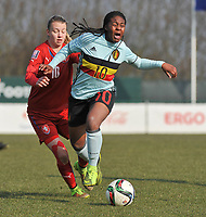 20180221 - TUBIZE , BELGIUM : Belgian Esther Buabadi (R) and Czech Republican OSara Illesova (L) pictured during the friendly female soccer match between Women under 17 teams of  Belgium and Czech Republic , in Tubize , Belgium . Wednesday 21th February 2018 . PHOTO SPORTPIX.BE DIRK VUYLSTEKE