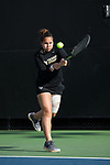 Joanna Zalewski of the Wake Forest Demon Deacons returns the ball during the match against the North Carolina Tar Heels at the Wake Forest Tennis Center on March 29, 2017 in Winston-Salem, North Carolina. The Tar Heels defeated the Demon Deacons 6-1.  (Brian Westerholt/Sports On Film)