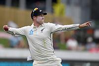 1st December 2019, Hamilton, New Zealand;  Henry Nicholls returns to the wicket. International test match cricket, New Zealand versus England at Seddon Park, Hamilton, New Zealand. Sunday 1 December 2019.