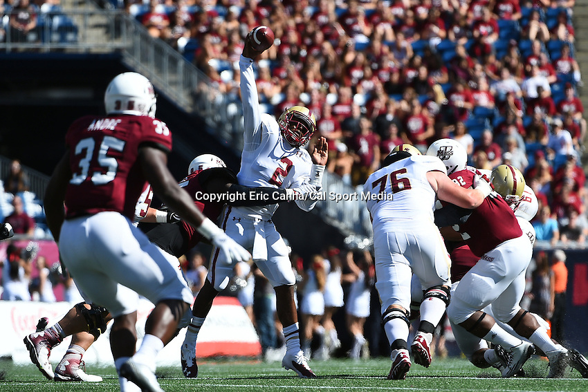 August 30, 2014 - Foxborough, Massachusetts, U.S. - Boston College Eagles quarterback Tyler Murphy (2) throws under pressure during the NCAA Division I football game between Boston College Eagles and the University of Massachusetts Minutemen held at Gillette Stadium in Foxborough Massachusetts. The Eagles defeated the Minutemen 30-7. Eric Canha/CSM