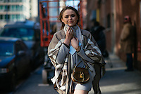 Kristina Bazan attends Day 4 of New York Fashion Week on Feb 15, 2015 (Photo by Hunter Abrams/Guest of a Guest)