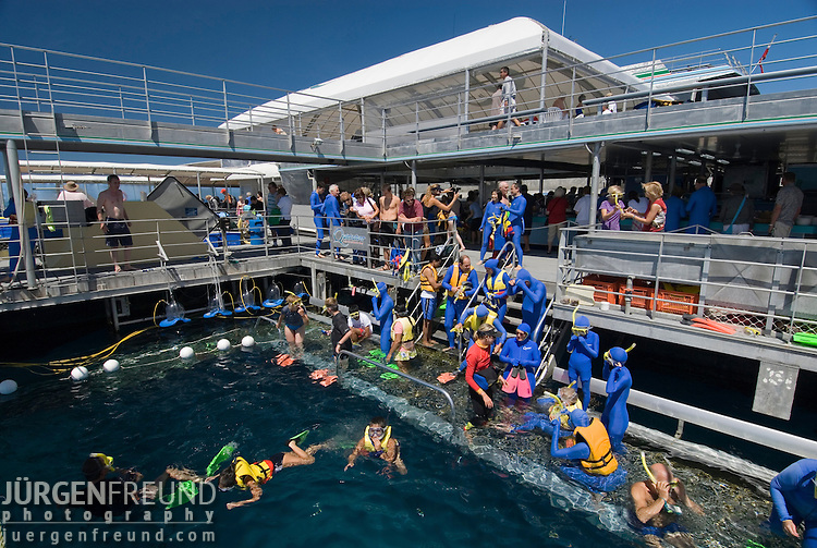Quicksilver Pontoon activities like helmet diving, snorkling, helicopter rides to see the reef etc..Great Barrier Reef, Queensland, Australia
