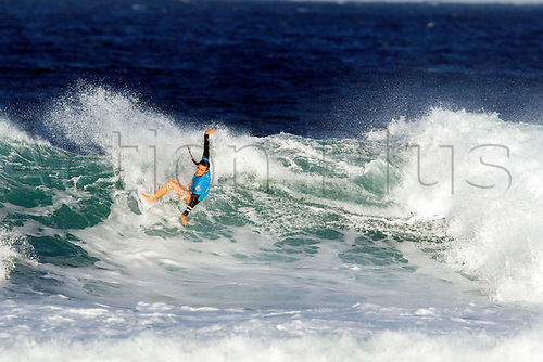 April 2nd 2017, Margaret River,  Perth, Western Australia;   The Drug Aware Margaret River Pro Surfing Competition; Johanne Defay (USA) cuts back on a wave during her heat against Malia Manuel (HAW) on day 5; Manuel won the heat