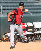 Sacramento River Cats starting pitcher Michael Roth (38) warms up in the bullpen before the game against the Salt Lake Bees in Pacific Coast League action at Smith's Ballpark on April 13, 2017 in Salt Lake City, Utah. Salt Lake defeated Sacramento 4-3. (Stephen Smith/Four Seam Images)