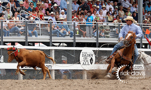 PRCA cowboy Tim Abbott turned in an 18. 1 second final round steer roping run at the 112th annual Cheyenne Frontier Days Rodeo in Cheyenne, Wyoming on July 27, 2008 to win the championship buckle. Tim had a total time of 49.1 seconds on three head during the ten day run in Cheyenne.