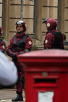 Actors in costume as Doctor Who films on Mount Stuart Square in Cardiff Bay, Wales, UK. Sunday 05 February 2017