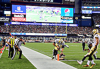 Thursday August 11, 2016: New Orleans Saints quarterback Garrett Grayson (18) leaps across the goal line for a 2 point conversion during an NFL pre-season game between the New Orleans Saints and the New England Patriots held at Gillette Stadium in Foxborough Massachusetts. The Patriots defeat the Saints 34-22 in regulation time. Eric Canha/CSM