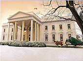 Washington, DC - December 14, 2008 -- Painting of the North Portico of the White House as the Official White House Christmas tree is driven to the door by Bagram Ibatoulline that is on the front of the 2008 holiday reception invitation sent out by United States President George W. Bush and first lady Laura Bush.  .Credit: Ron Sachs / CNP