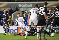Dele Alli of Tottenham Hotspur fires a shot a goal through a group of players during the UEFA Europa League match between Tottenham Hotspur and Qarabag FK at White Hart Lane, London, England on 17 September 2015. Photo by Andy Rowland.