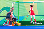 Lily Owsley #26 of Great Britain and Helen Richardson-Walsh #8 of Great Britain celebrate the goal during Netherlands vs Great Britain in the gold medal final at the Rio 2016 Olympics at the Olympic Hockey Centre in Rio de Janeiro, Brazil.