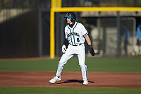 Nick Lucky (6) of the Coastal Carolina Chanticleers takes his lead off of second base against the Illinois Fighting Illini at Springs Brooks Stadium on February 22, 2020 in Conway, South Carolina. The Fighting Illini defeated the Chanticleers 5-2. (Brian Westerholt/Four Seam Images)