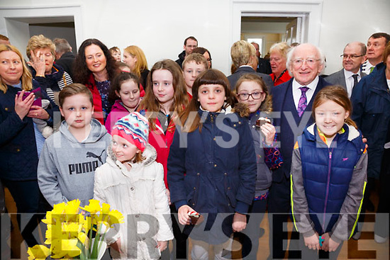 Pictured with President Michael D.Higgins in Valentia on Saturday were l-r; Peadar Egan, Eimer McCormack, Nicole Casey, Karina Casey, Adam Quigley, Dervla Healy, Saoirse King & Saidbh King.