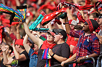 Portland, OR - Saturday October 07, 2017: Portland Thorns FC fans celebrate a goal during a National Women's Soccer League (NWSL) semifinals match between the Portland Thorns FC and the Orlando Pride at Providence Park.
