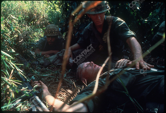 US soldier wounded during patrols in the Mekong Delta, South Vietnam, December 1967
