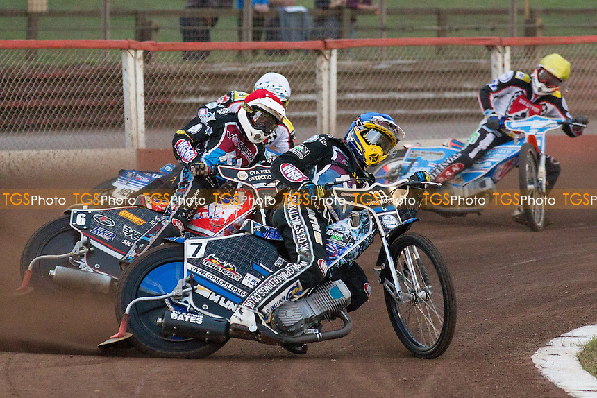 Ben Morley and Adam Ellis lead a Lakeside 1-2 in heat 2 - Lakeside Hammers vs Belle Vue Aces - Elite League Speedway at Arena Essex - 15/08/14 - MANDATORY CREDIT: Ray Lawrence/TGSPHOTO - Self billing applies where appropriate - contact@tgsphoto.co.uk - NO UNPAID USE