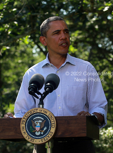 United States President Barack Obama makes a statement about Hurricane Irene at his vacation home on Blue Heron Farm in Chilmark, Martha's Vineyard, Massachusetts Friday, August 26, 2011..Credit: Vincent DeWitt / Pool via CNP