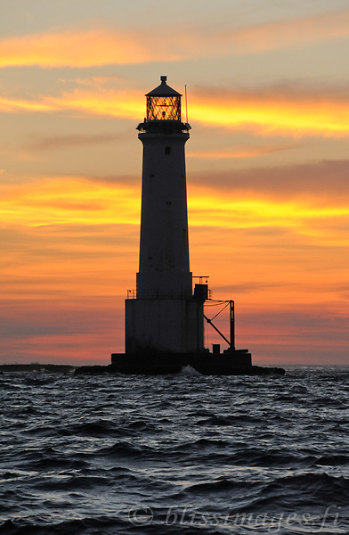 Sunset at Great Basses Reef lighthouse off southwestern Sri Lanka.