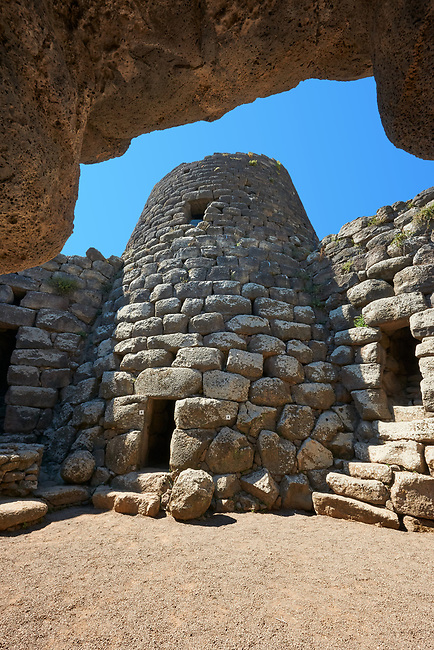 Picture and image of the central courtyard and prehistoric megalith ruins of Santu Antine Nuraghe tower, archaeological site, Bronze age (19-18th century BC), Torralba, Sardinia.
