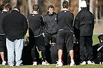 10 December 2005: Maryland head coach Sasho Cirovski (center) talks to his players. The University of Maryland Terrapins held a light workout the day before playing in the NCAA Men's College Cup, the Division I Championship soccer game, at SAS Stadium in Cary, NC..